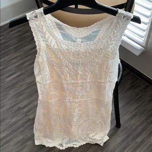 White lace dress with off white built in slip